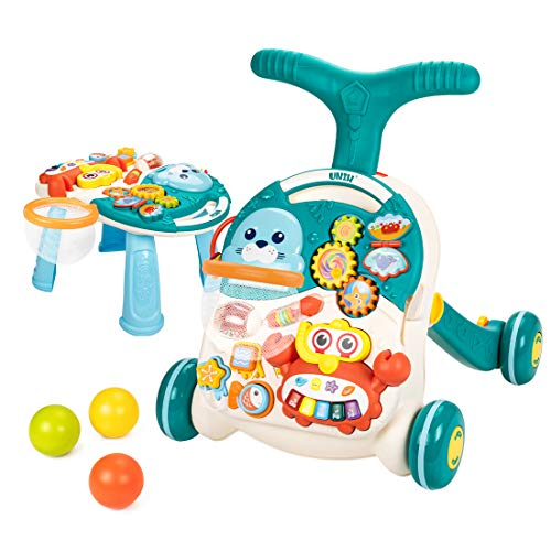 UNIH Baby Sit to Stand Learning Walkers & Activity Table, 2 in 1 Early Education Activity Center,Cute Seals Crab Musical Toys Balls for Toddlers Infant Boy Girl 9-18 Months