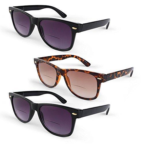 Primary Optics Bifocal Reading Sunglasses - Wayfarer Framed Polarized Lenses, 100% UV Protection, & Spring Hinges - 3 Pairs, 2 Black, 1 Leopard +2.0