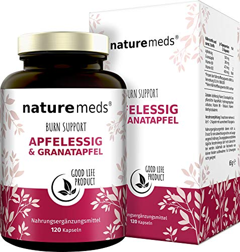 Nature Meds Apfelessig + Granatapfel Fatburner Support, natürlich Abnehmen und sich gut fühlen, speziell zur Unterstützung Deiner individuellen Diät, 120 vegane Kapseln im 2 Monatsvorrat Sommeraktion