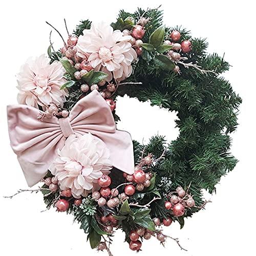 set fai da te Ghirlanda Natalizia Fuori porta con Fiocco Rosa in velluto bacche e fiori artificiali decorazione addobbo natale casa negozio vetrina rose gold rosa pink pino abete