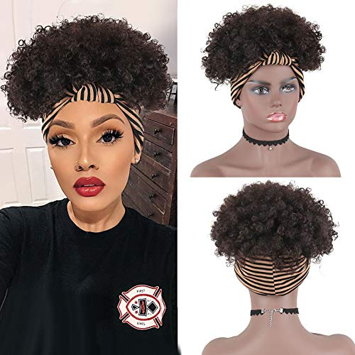 AISAIDE AfroKinkyCurlyWig AfroWig Headband Wig,Afro Curly Wig Short Afro Puff Wig Natural Black Headband Wigs for Black Women,Curly Afro Wig Wrap Wig 2 in 1 Turban Wigwith HeadbandAttached(2#)