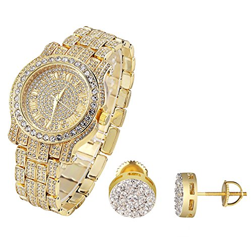 Gold Finish Hip Hop Mens Watch Simulated Diamonds Cluster Set Studs Earrings 9mm