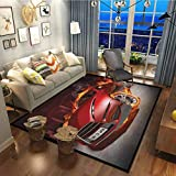 Cars Cozy Rug Contemporary Soft Area Rug Red Sports Car Burnout Tires in Flames Blazing Engine Hot Fire Smoke Automobile Red Black Orange27x36 Inch