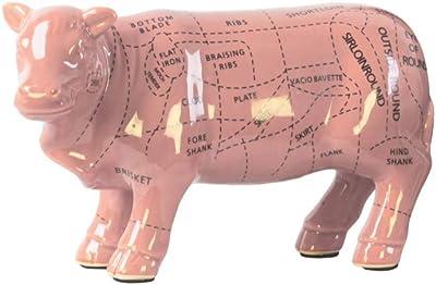 Benjara, Pink Benzara BM179226 Ceramic Standing Beef Cut Chart Figurine