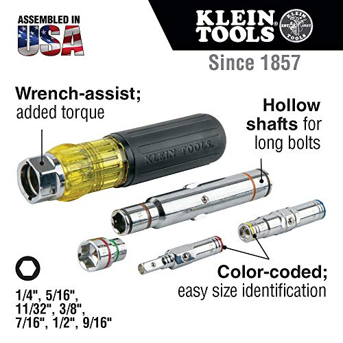 Klein Tools 32807MAG 7-in-1 Nut Driver, Magnetic Driver with SAE Hex Nut Sizes and Spring Coil Bits, Heavy-Duty Handle for Added Torque