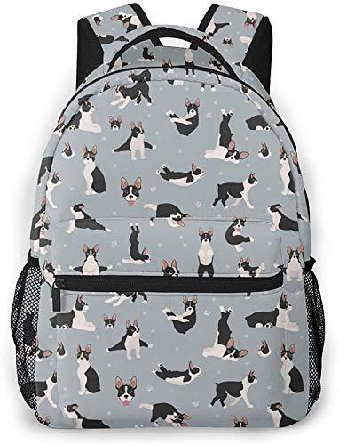 Mazzo di cappello di Natale Basic Travel Laptop Zaino Carino Scuola Bag-Boston Terrier Pattern