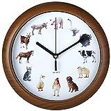 Deuba Wanduhr Kinder Uhr mit Tieren 12 Tiermotive als Ziffern Jede volle Stunde Tierstimmen Lerneffekt Holz Look