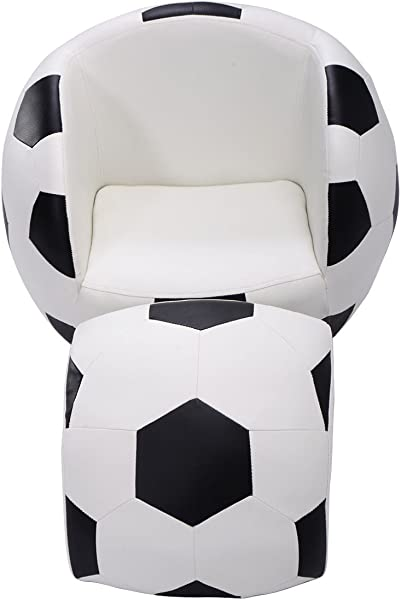 BeUniquetoday Football Shaped Kids Sofa Couch With OttomanChair Soccer Ball Seat Furniture