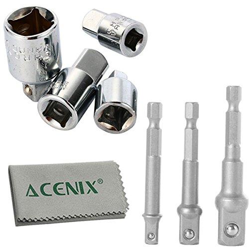 AC- 4-teiliges Stecknuss-Adapter-Werkzeug-Set, Konverter und Reduziersatz und 3-teiliges Verlängerungs-Bit-Set für Bohrschrauber 1/4 Zoll, 3/8 Zoll, 1/2 Zoll iNcluding Reinigungstuch, 7-teiliges Set