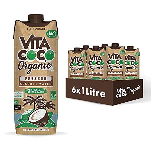 Vita Coco acqua di cocco biologica pressata 6x1 L, Confezione rinnovabile eco-compatibile, più gusto di cocco, idratante naturale, piena di elettroliti, vegan, vitamina C e potassio 6 x 1000ml