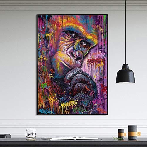 Animal Graffit Abstract Artwork Canvas Painting Wall Art para sala de estar Decoración moderna A 40x55cm