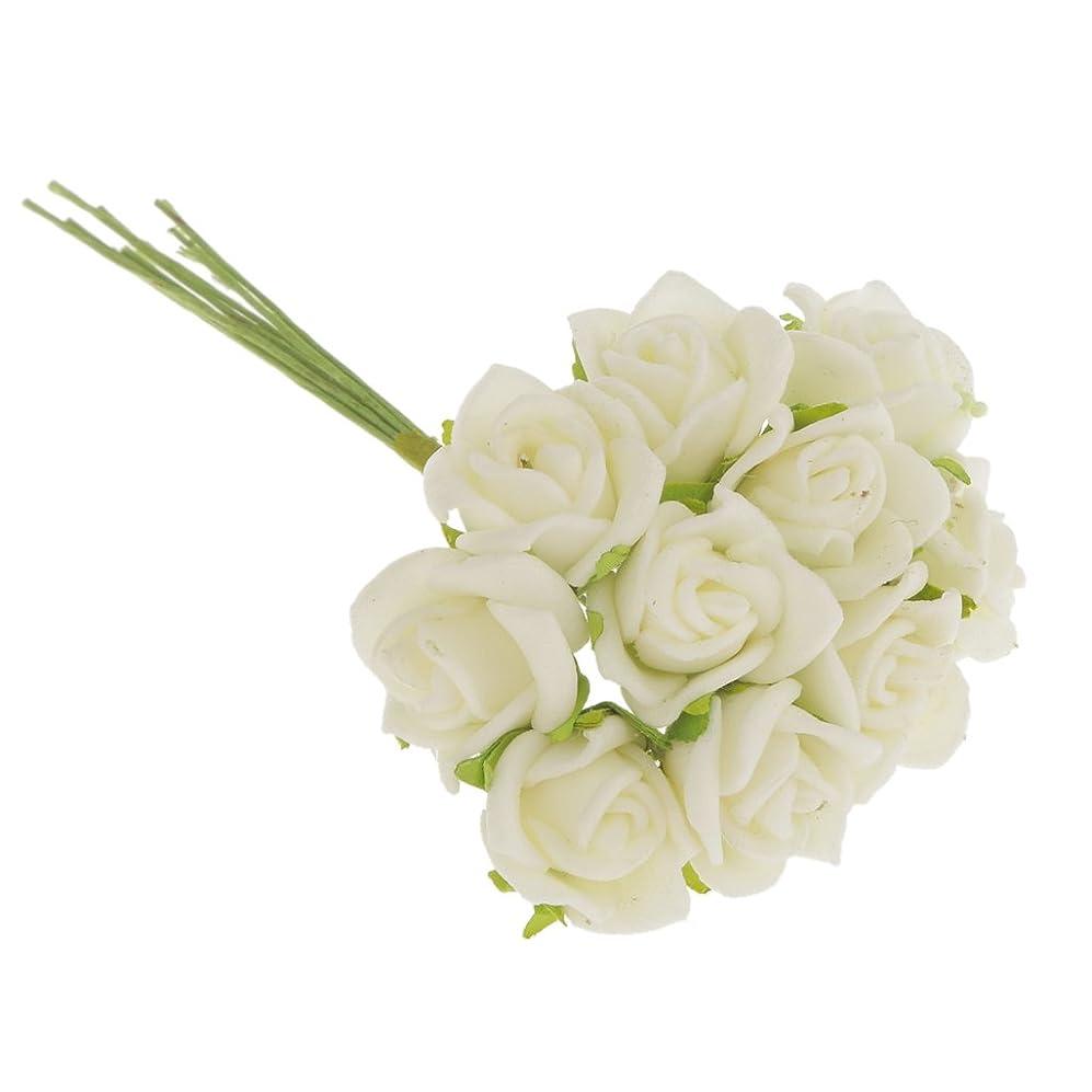 ラテンクッションamleso ミニ 人工バラの花 ブーケ 造花 結婚式 花嫁 装飾 全10色選べる - ベージュ