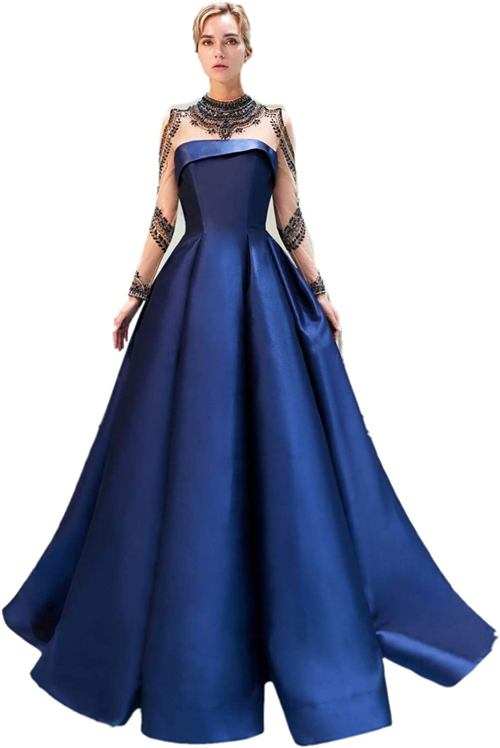 Darcy74Dulles Women's Royal bluee Evening Dresses Long Sleeves Satin Prom Gowns Dresses Elegant Formal Gowns with Beaded
