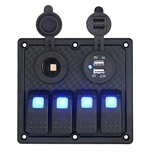 Toggle Rocker, 4-versnellingen, schakelpaneel, met 3.1A dual USB-lader, adapter, sigarettenaansteker, voor auto, boot, auto, vrachtwagen, SUV, aanhanger, A-zwart