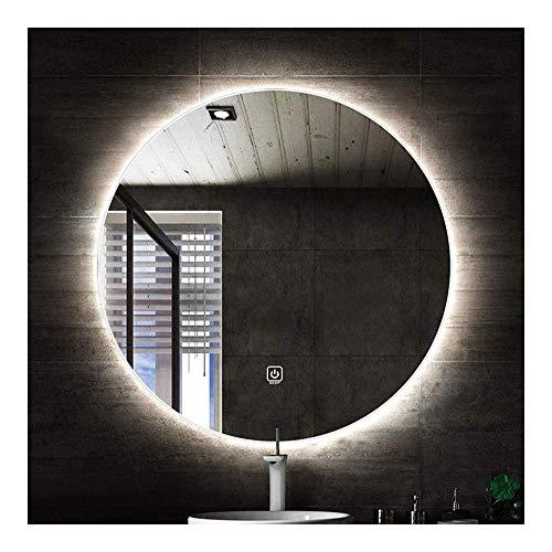 Pursue Cuarto de baño Iluminado LED del Interruptor de Pared Redondo Dresser Colgantes táctil Espejo (Size : 70cm|White Light)