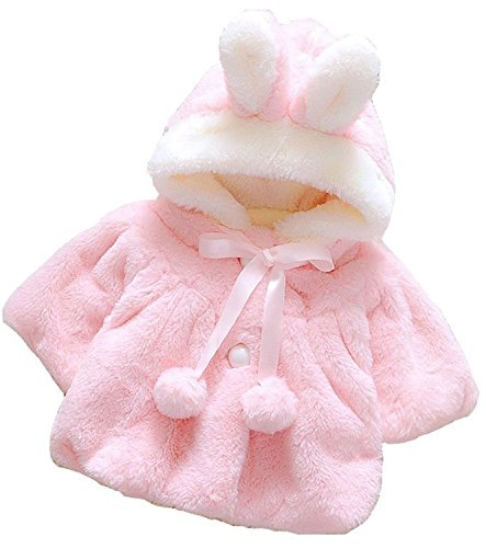 Baby Girl Fur Winter Warm Coat Cloak Jacket Thick Warm Clothes 12-18Months Pink