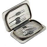 Conjunto de manicura Kit Pedicura Clipper Uñas Acero inoxidable Cutter Cutter Tools Travel Viajes portátiles con caso PU (Color : 6 Tools)
