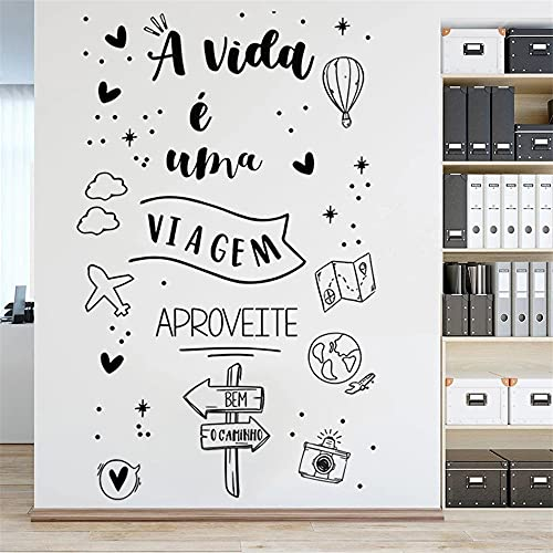 Zdklfm69 Adhesivos Pared Pegatinas de Pared Cartel de Pegatinas de Vinilo con Cita Portuguesa para Mural de decoración del hogar de la Sala de Estar 110x178cm