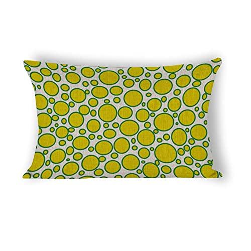 Funda de almohada de 50,8 x 76,2 cm, diseño de lunares, color amarillo y verde, funda de almohada lumbar para sofá, ropa de cama, coche y decoración del hogar