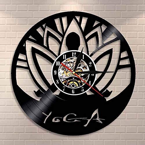 Reloj de pared de vinilo con luz LED de 7 colores, grabado hueco, estudio de yoga zen, meditación, buda, minimalista, alinearse con sí mismo espiritual, diseño de yogui de 12 pulgadas