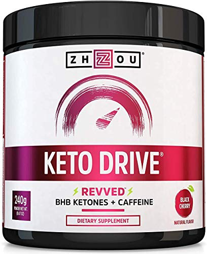 Zhou Keto Drive Exogenous Ketone Performance Complex Formulated for Ketosis, Energy and Focus, 16 Servings, 8.29 oz - Black Cherry