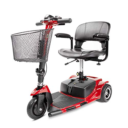 Furgle 3 Wheel Mobility Scooter Electric Power Mobile Wheelchair for Seniors Adult - Collapsible and Compact Duty Travel Scooter w/Basket and Long Range Power Extended Battery (Red)