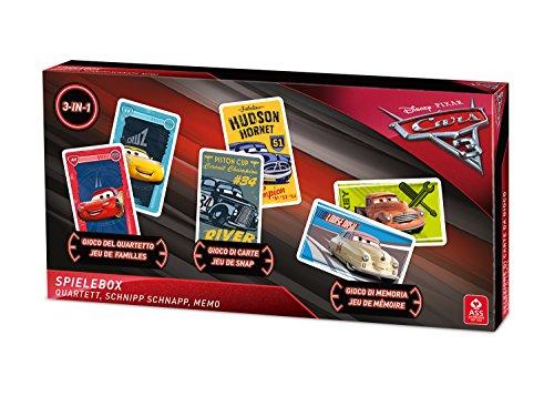 ASS 22501508 Disney Pixar Cars Altenburger 22501508-Cars 3-Spielebox 3 in 1, mit Quartett, Schnipp Schnapp und Memo