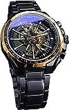 QHG Relojes para Hombre Auto-Winding Mecánico Steampunk Diseño Luminoso de Acero Inoxidable Negro Reloj de muñeca automática Reloj de Esqueleto