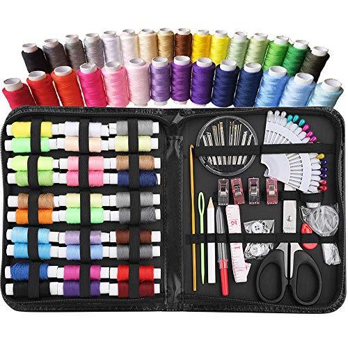 XWU 98 pçs/set Kit de costura Linha de costura Suprimentos de costura premium, Cores mais úteis, Reparos de emergência, Viagem, Crianças, Iniciantes e Casa