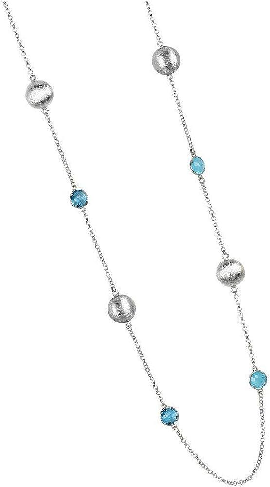 Boccadamo, collana lunga per donna, in bronzo rodiato con cristalli lisci e sfaccettati  e satinati XGR489