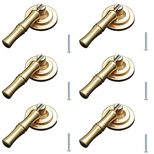 Jinyuanchao Zinc Alloy Bamboo Handle Dresser Drawer Cabinet Cupboard Closet Door Pulls Decorative Furniture Accessories Knob (Hole spacing 105mm) 6PCS (Small)