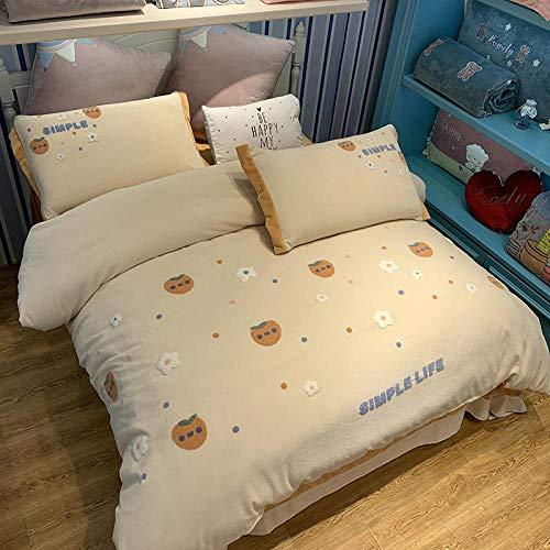 Shinon teddy bear duvet set double-Winter children's cartoon thickened four-piece milk velvet bed double-sided flannel duvet cover pillowcase-G_1.8m bed (4 pieces)