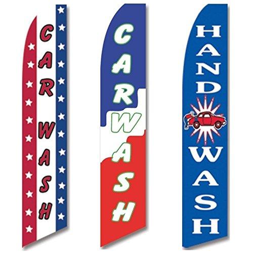 3 Swooper Flags Auto Detailing Shop Hand Wash Car Wash Service OPEN