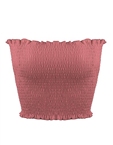 Sweetbei J Womens Strapless Pleated Summer Sexy Bandeau Tube Crop Tops Pink M