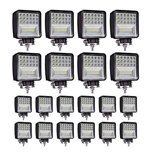LED Light Pods, 4 inch 126W Square LED Work Light, Spot & Flood Light Off Road Light, Led Fog Light Truck Light Driving Light Boat Light for Truck Pickup Jeep SUV ATV UTV Waterproof (20 Pack)