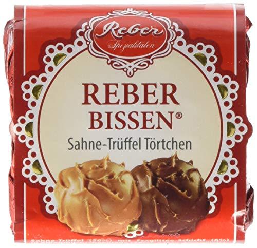 Reber-Bissen, Trüffel-Pastete, Alpenmilch-Schokolade, Alkoholhaltig, Sahne-Trüffel, Weinbrand-Sultanine, Nuss-Nougat, 1 Stück