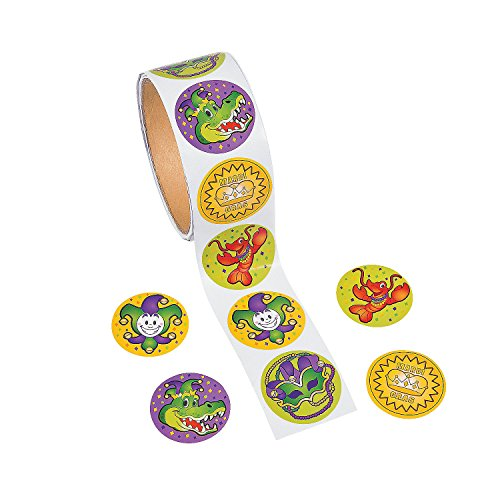 Fun Express - Mardi Gras Roll Sticker for Mardi Gras - Stationery - Stickers - Stickers - Roll - Mardi Gras - 100 Pieces