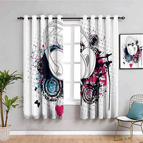 Fenstervorhang, Musik, verdunkelnd, Grunge-Kopfhörer, mit digitalem Pinsel-Effekt und Herz-Nachtclub-Grafik, für guten Schlaf, Hot Pink, Schwarz, Blau, B 132 x L 160 cm