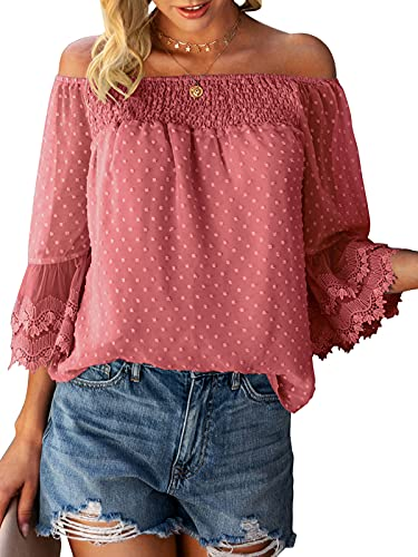Women's Summer Off Shoulder Tops Ruffle 3/4 Bell Sleeve Swiss Dot Casual Shirts Blouse Pink Red