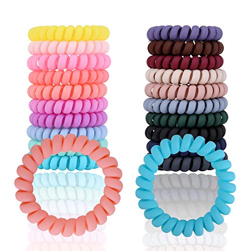 Ordermore Spiral Hair Ties, Coil Hair Ties, Phone Cord Hair Ties, Hair Coils - 20 pcs, Elastic Hair Band with Strong Grip, Non-soaking, Hair Accessories for Women,Suitable for All Hair Types