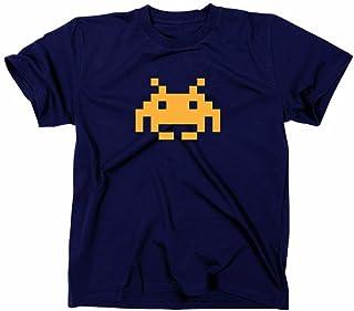 Space Invaders Retro T-Shirt, Atari, C64,eighties,nerd, navy, L