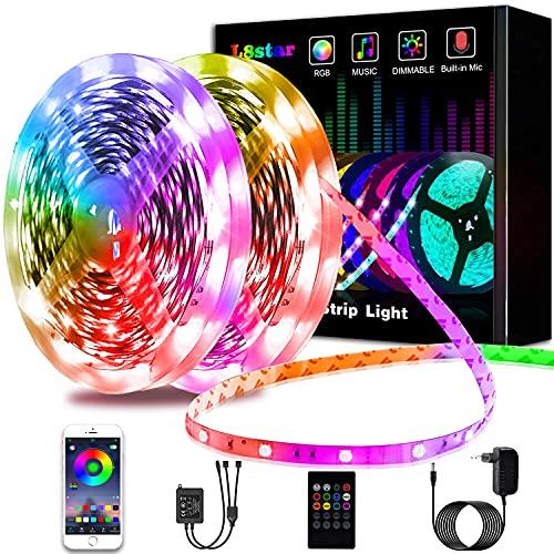 Ruban LED 20M, L8star LED Ruban Intelligent led chambre 5050 RGB SMD Multicolore Décorative Bande LED Lumineuse avec Télécommande changement