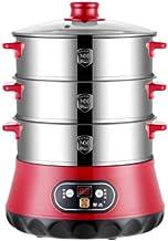 N/C Cuiseur vapeur électrique en acier inoxydable 800 W, avec minuteur de 80 minutes, panier empilable sans BPA et base ha...