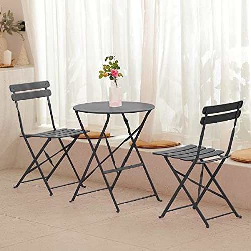 mano Garden Balcony Sets 1 Table and 2 Chairs Outdoor Dining Camping Furniture Folding Wrought Iron Table Chairs for Patio Courtyard Home Living Room Picnic Terrace(3 Pieces, Black)