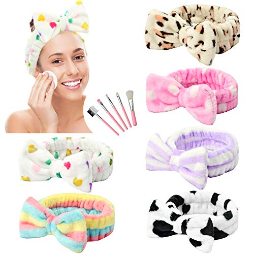 6 Stück Spa Stirnband Bowknot Haarband für Mädchen Frauen Schöne weiche Carol Elastic Stirnband Haarwickel Make-up Bänder Dusche Stirnband