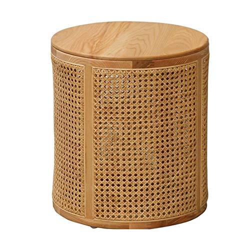 JCNFA STOLIK Rattan boczny stół, okrągła sofa z drewna stół boczny, japoński styl salon mały stolik, balkonowy stół końcowy wypoczynek, może przechowywać stoły boczne,