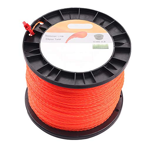 "Wellsking 0.095"" Round Twist String Trimmer Line 3 lbs 985 Foot Spools Weedeater Line for FS45 SRM225 SRM210 SRM230 Trimmer Head Weed Eater with Bonus Line Cutter"