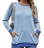 Meerway Camiseta Manga Larga Mujer con Cuello Redondo con Bolsillos algodón Basicas Azul M