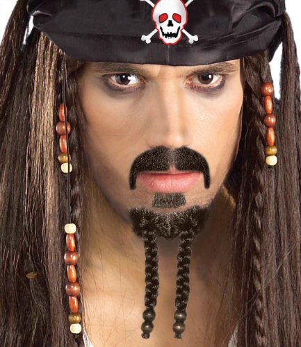 Forum Novelties Men's Pirate Beard and Moustache Costume Set, Brown, One Size