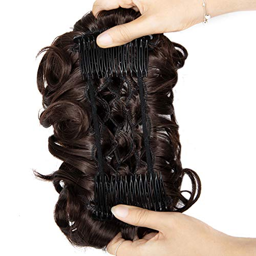 Messy Curly Hair Bun Extensions Updo Hairpiece Chignons Easy Stretch Hair Combs Clip in Ponytail Extensions